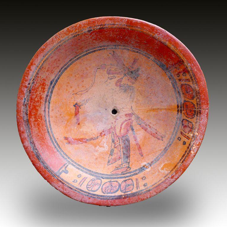 A Maya dish with upright figure